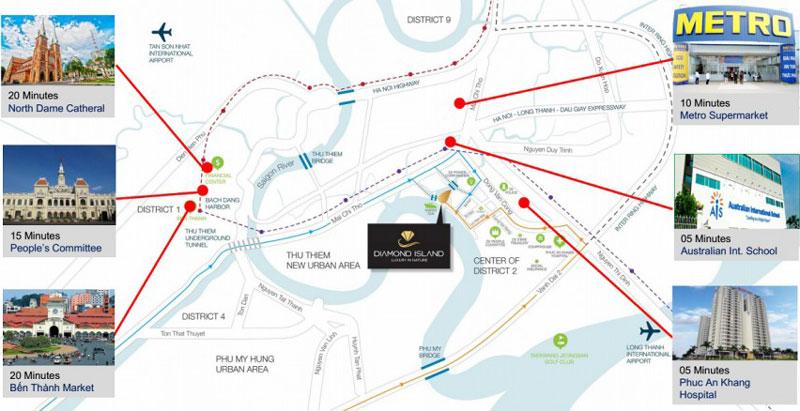 sơ đồ vị trí của căn hộ đảo kim cương quận 2