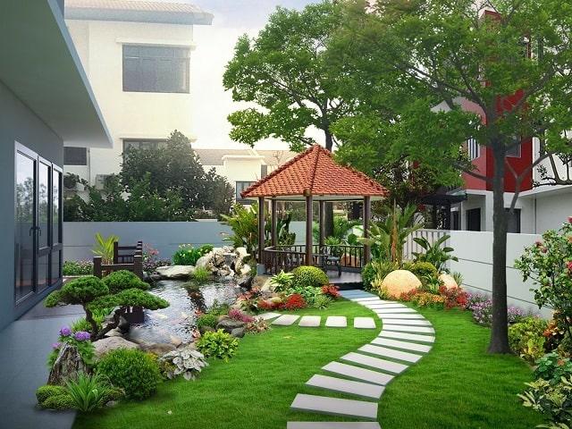 Khi thiết kế sân vườn cần đảm bảo tính thống nhất về cảnh quan bố trí