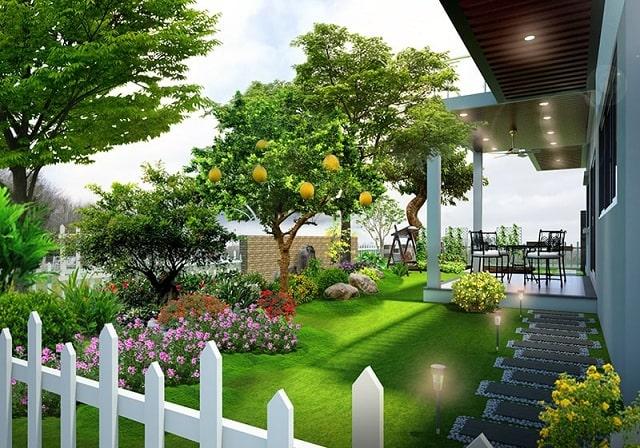 Thiết kế sân vườn đẹp cần có hàng rào bao quanh