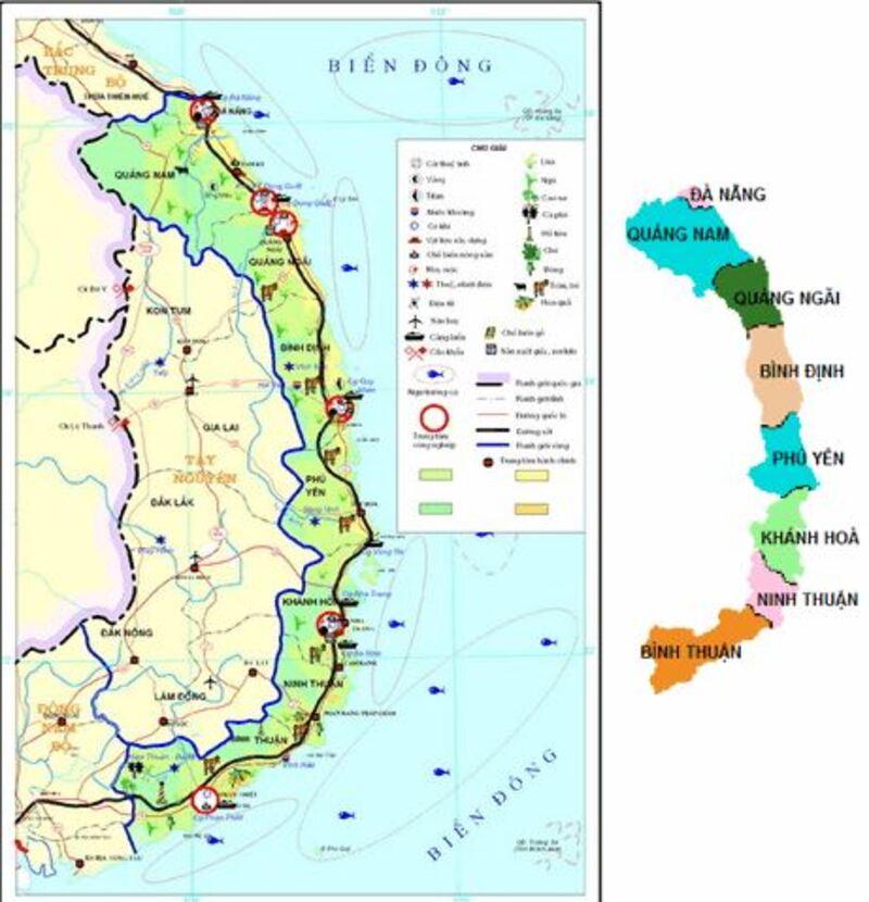 Bản đồ các tỉnh vùng duyên hải Nam Trung Bộ
