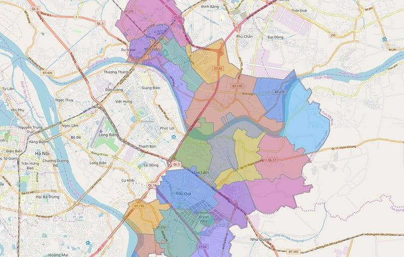 Bản đồ hành chính, quy hoạch huyện Gia Lâm