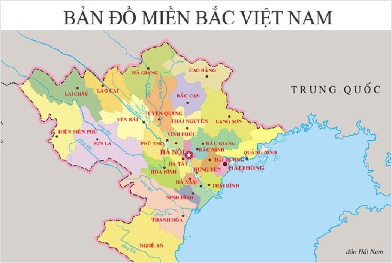Bản đồ miền Bắc Việt Nam chi tiết thể hiện danh lam thắng cảnh