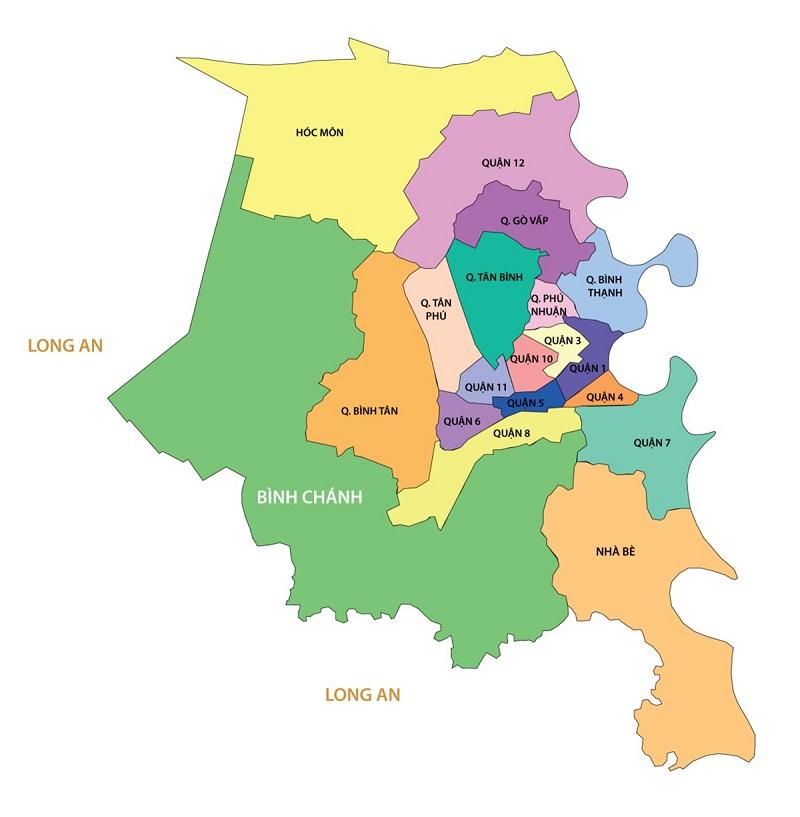 Bản đồ tp hcm được chia thành 19 quận huyện