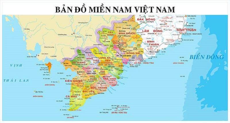 Đặc điểm địa hình trên bản đồ miền Nam