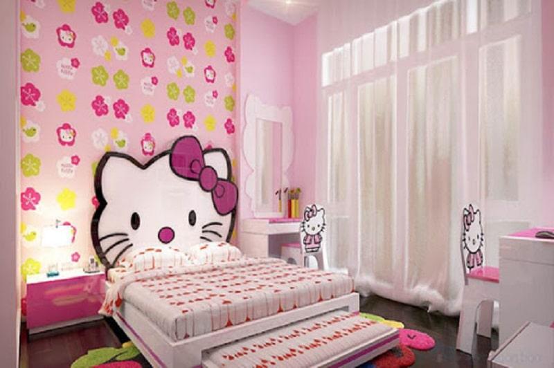Giấy dán tường Hello Kitty cho bé gái