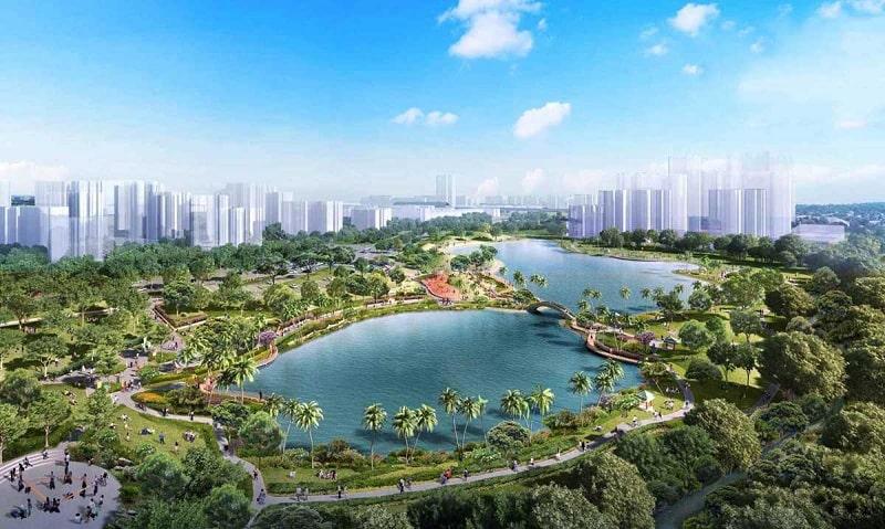 Hồ sinh thái với thiên nhiên xanh mát mang đến hơi thở trong lành cho cư dân