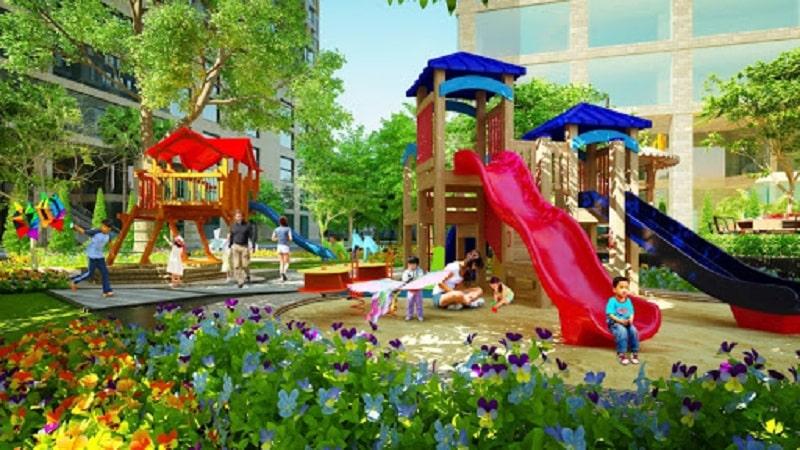 Khu vui chơi trẻ em tích hợp nhiều trò chơi mang nhiều trải nghiệm thú vị cho cư dân nhí