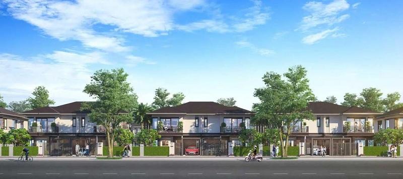 Kiến trúc biệt thự song lập dự án bao quanh thiên nhiên xanh thông thoáng