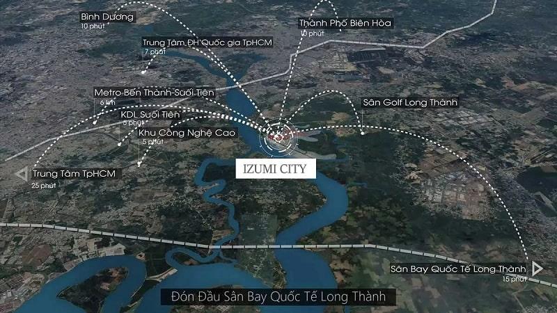 Mạng lưới liên kết khu vực quanh dự án Izumi City đắt giá, hiếm có của khu vực