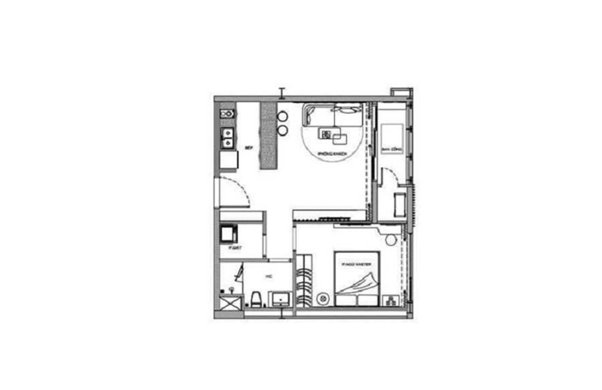 Mặt bằng căn hộ 1 phòng ngủ dự án Thảo Điền Green
