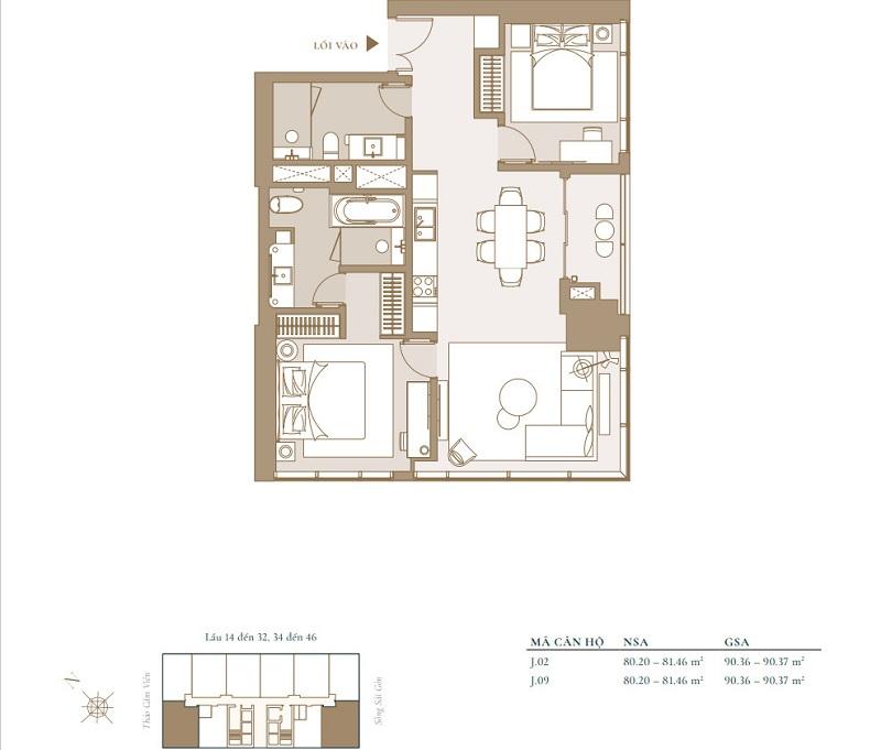 Mặt bằng căn hộ 2 phòng ngủ điển hình của dự án