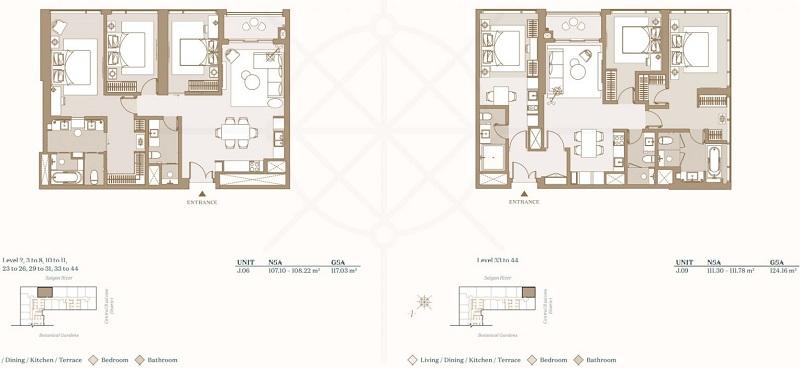 Mặt bằng căn hộ 3 phòng ngủ điển hình của dự án