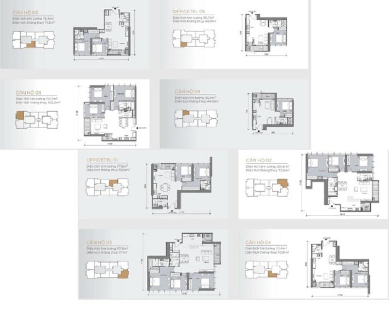 Mặt bằng chi tiết các sản phẩm căn hộ dự án One Central dự kiến được xây dựng