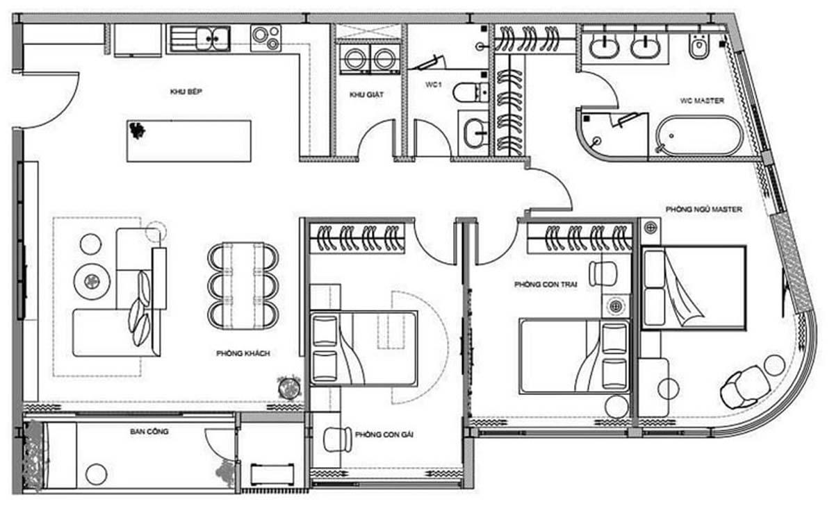 Mặt bằng chi tiết mẫu căn hộ 3 phòng ngủ