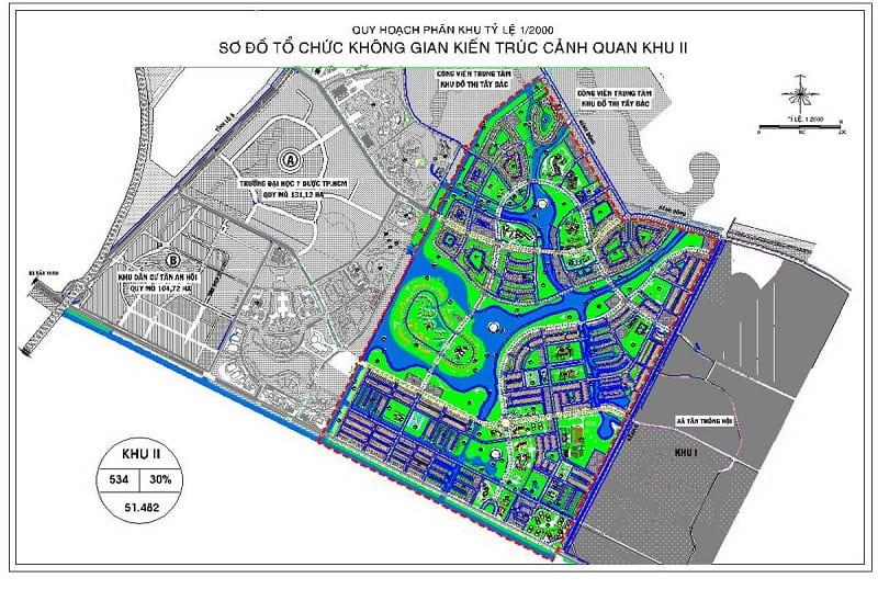 Mặt bằng chi tiết phân khu II dự án Vinhome Hóc Môn