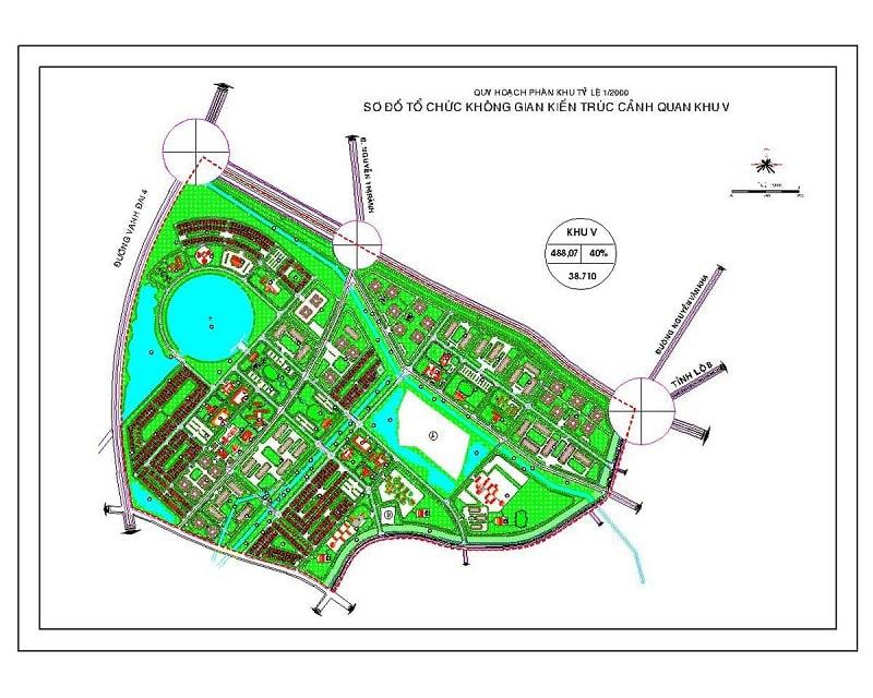 Mặt bằng chi tiết phân khu V dự án Vinhome Hóc Môn