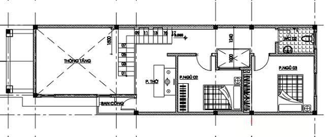 Mặt bằng công năng tầng 2 của ngôi nhà bố trí chủ yếu là không gian sinh hoạt chung