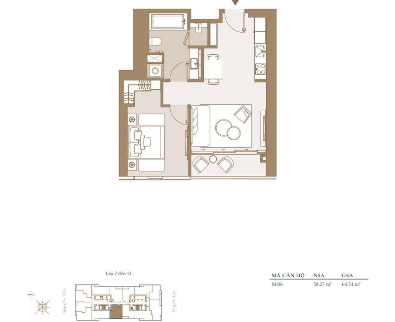 Mặt bằng điển hình căn hộ 1 phòng ngủ