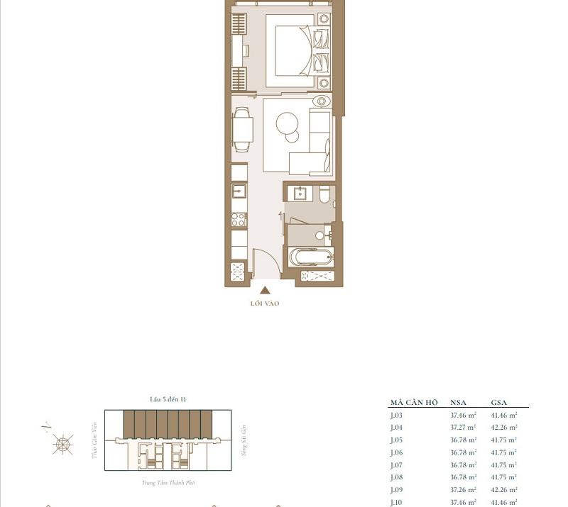 Mặt bằng điển hình cho mẫu căn hộ Studio