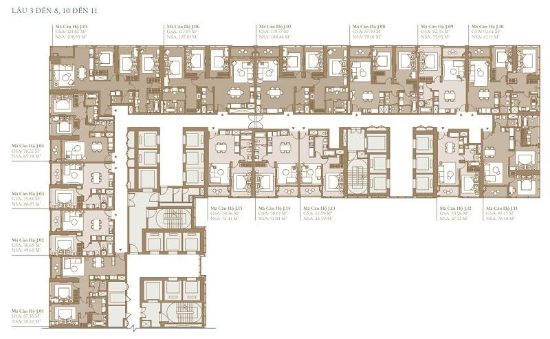 Mặt bằng lầu 3 đến 8 và lầu 10 đến 11 tòa Legacy SEA