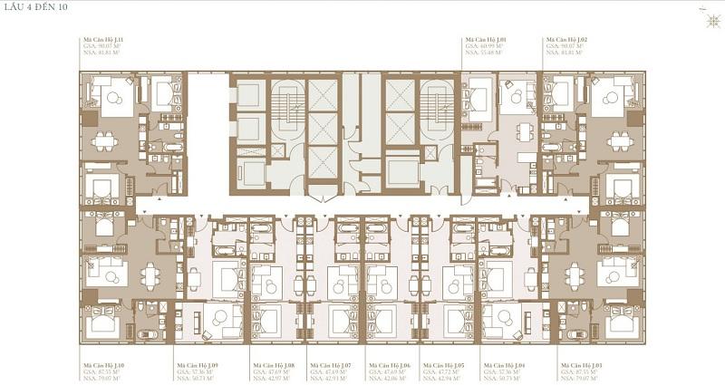 Mặt bằng tầng 4 đến tầng 10 tòa chung cư Legacy Lagoon