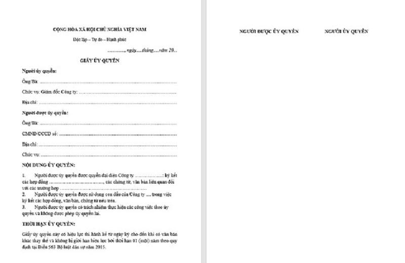 Mẫu giấy uỷ quyền ký hợp đồng