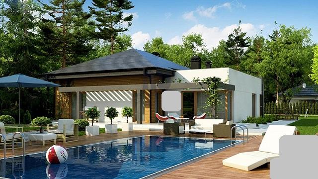 Mẫu nhà vườn mái Thái có hồ bơi đẹp mắt