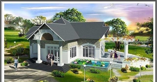 Mẫu nhà vườn mái Thái thiết kế đơn giản