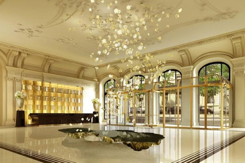 Một góc của khách sạn được thiết kế theo phong cách tân cổ điển