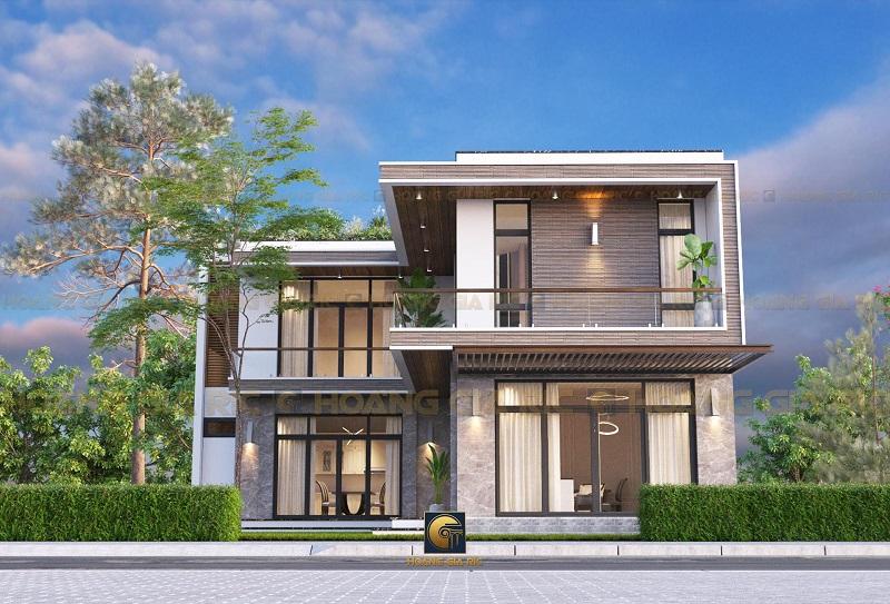 Nhà hai tầng dáng chữ L sẽ giúp gia chủ tiết kiệm được một phần diện tích đất để tạo sân cho căn nhà.