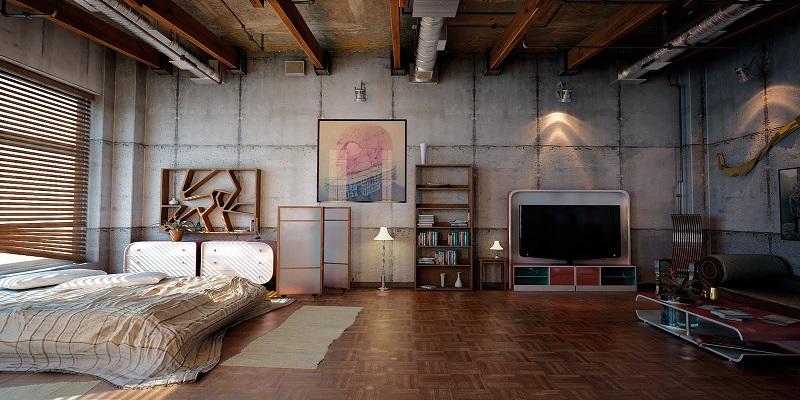 Phòng ngủ theo phong cách Brutalism