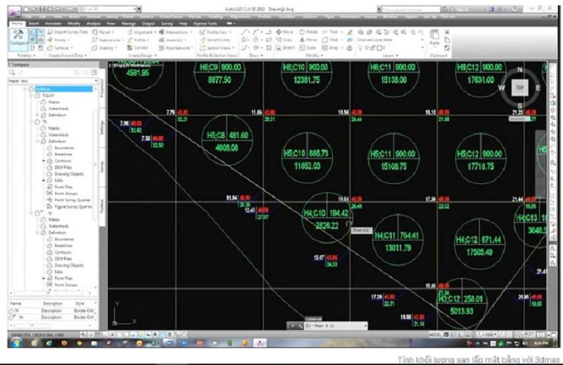 Sử dụng phần mềm 3D MAX để tính toán khối lượng san lấp