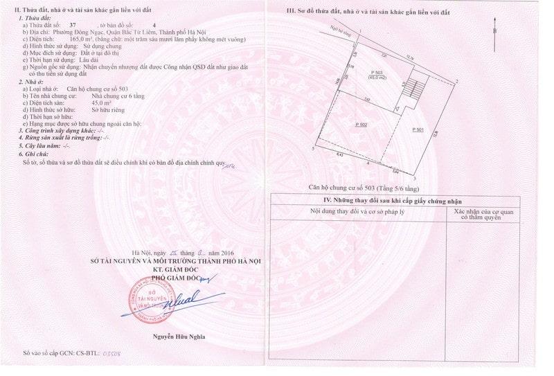 Thông tin ghi trên giấy chứng nhận quyền sử dụng đất