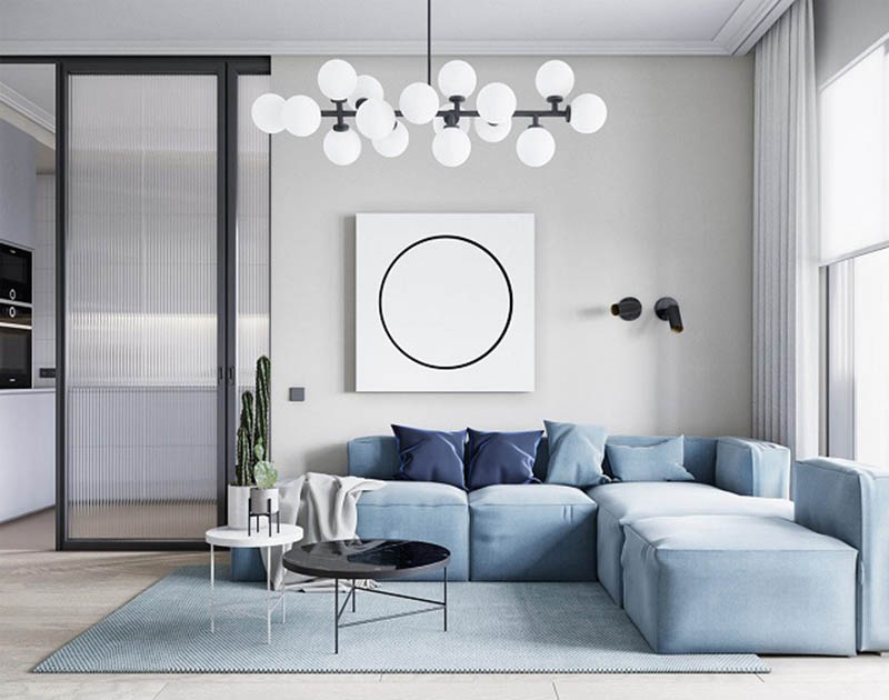 Trang trí phòng khách tối giản