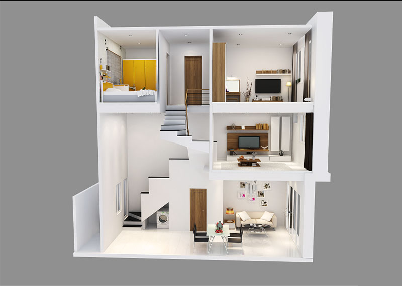 Ưu điểm của mẫu nhà phố 1 trệt, 1 lầu, 1 lửng