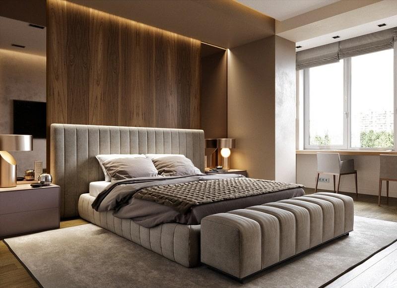 Vách ốp đầu giường bằng gỗ