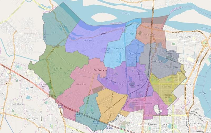 Vị trí địa lý quận Bắc Từ Liêm