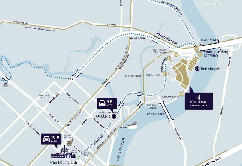 vị trí dự án vinhomes central park tân cảng