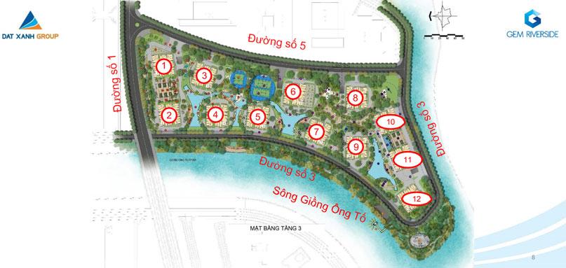 Mặt bằng tổng thể dự án căn hộ Gem Riverside Quận 2