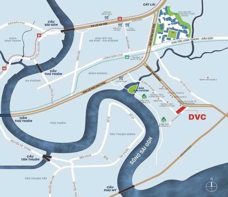 vị trí dự án victoria village quận 2