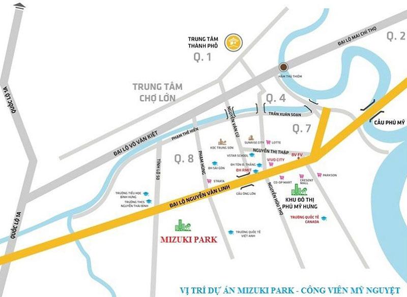 vị trí của dự án Mizuki Park