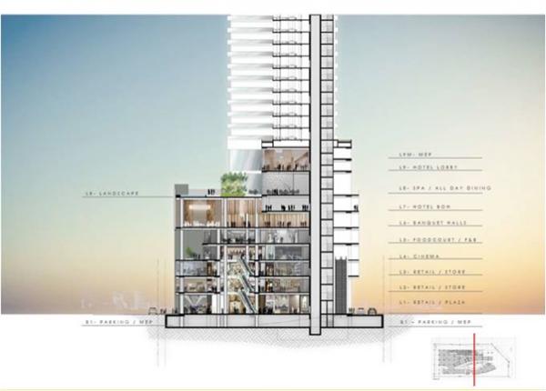 9 tầng thương mại của dự án