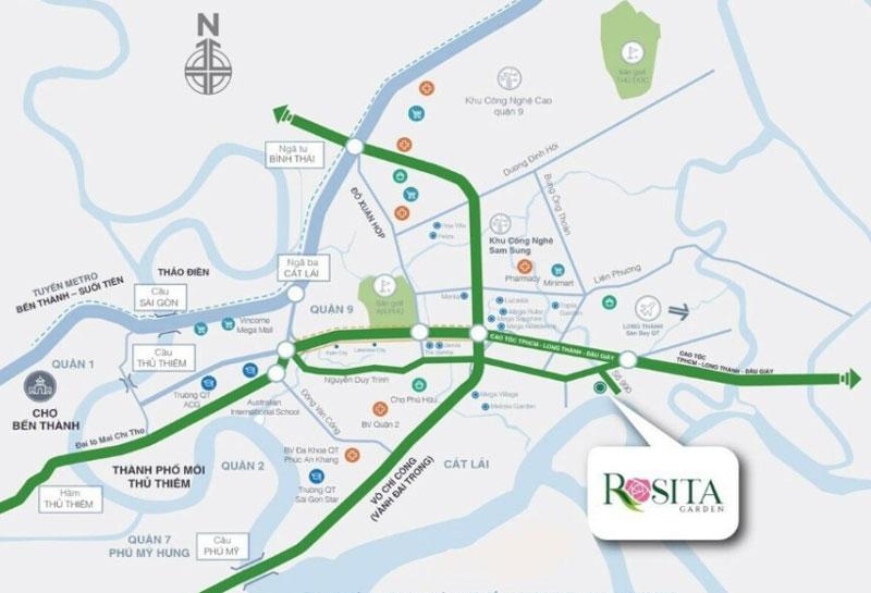 vị trí dự án Rosita Garden Khang Điền quận 9