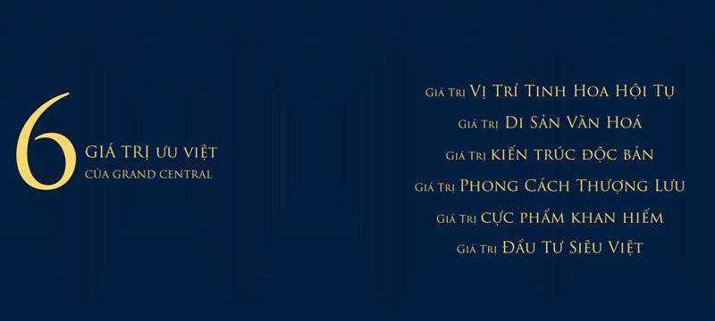 Dự án Grand Central sở hữu 6 giá trì vàng ưu việt