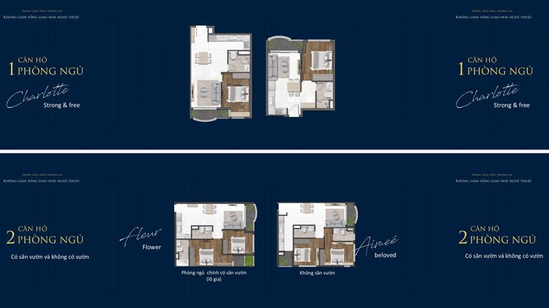 Mặt bằng căn hộ 1 và 2 phòng ngủ tại dự án Grand Central Quận 3