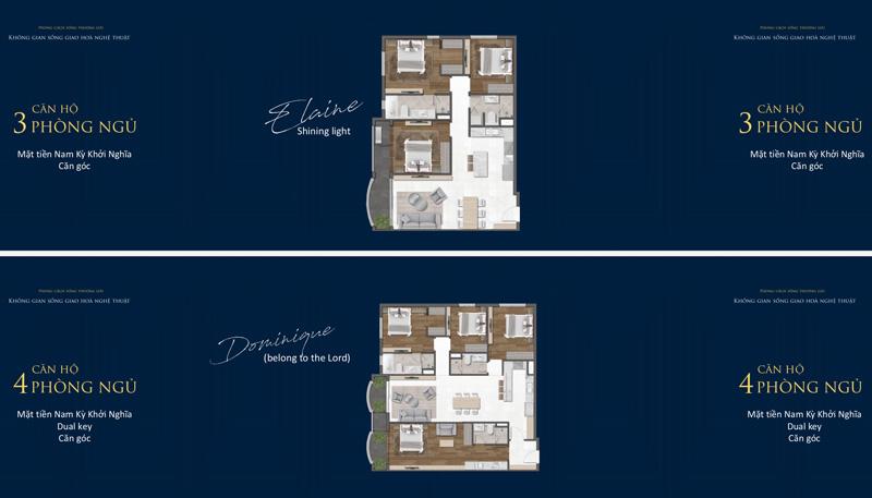 Mặt bằng căn hộ 3 và 4 phòng ngủ tại dự án Grand Central Quận 3