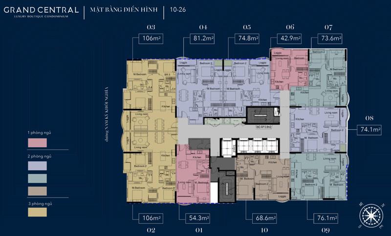 Mặt bằng tầng điển hình dự án chung cư Grand Central Q3