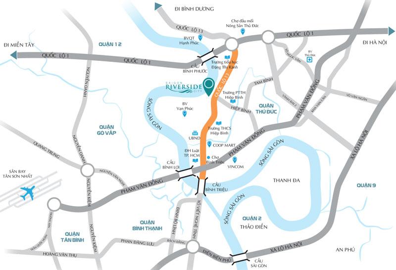 vị trí dự án sài gòn riverside city