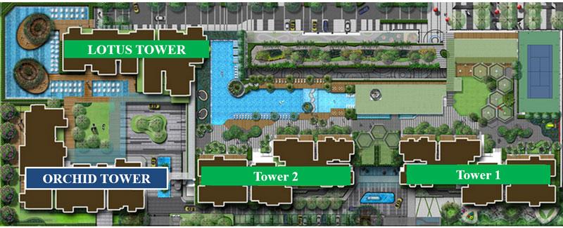 sơ đồ vị trí của các tòa căn hộ chung cư Vista Verde