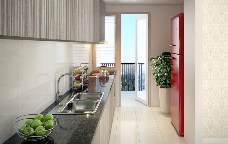 Phòng bếp căn hộ hiện đại và sang trọng